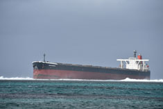 Grounding of MV Wakashio at Pointe D'Esny: salvage team and first tug, PSV Standford Hawk, in Mauritius