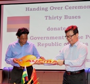 China donates 30 new buses to the National Transport Corporation