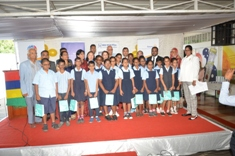 Grades 5 and 6 students of André Glover Government School receive free pair of spectacles